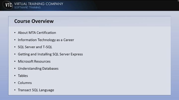 Database Fundamentals (98-364) - LOOP Course Details